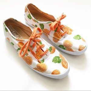 Keds Orange Fruit Print Classic Low Top Sneakers 7